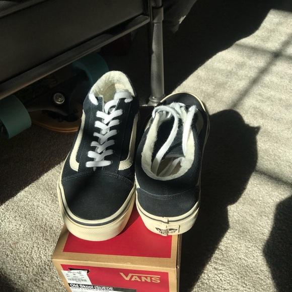 Vans old skool black suede and sherpa sneakers 102b26500